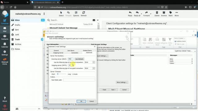How to configure mail in outlook